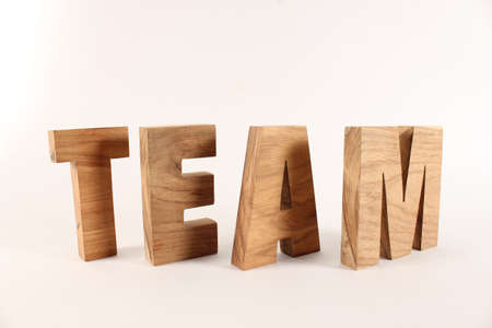 TEAM text composition with natural wood letters version 2