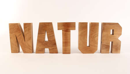 Natur text from wood letters Holz Buchstaben white Background straight Stock Photo
