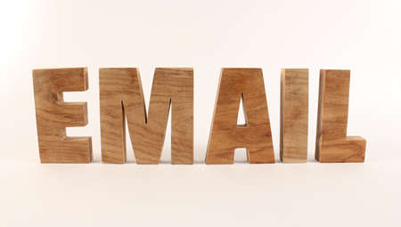 buchstabe: Email text from wood letters Holz Buchstaben white Background straight