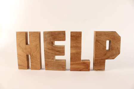 buchstabe: Help text from wood letters Holz Buchstaben white Background straight
