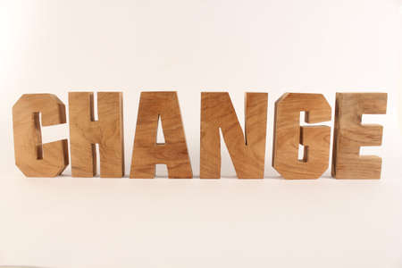 Change text from wood letters Holz Buchstaben white Background straight Stock Photo