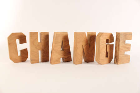 naturholz: Change text from wood letters Holz Buchstaben white Background Stock Photo