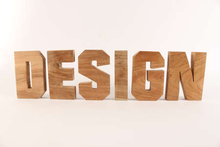 holzbuchstaben: Design text from wood letters Holz Buchstaben white Background straight Stock Photo