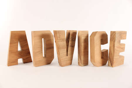 typ: Advice text from wood letters Holz Buchstaben white Background