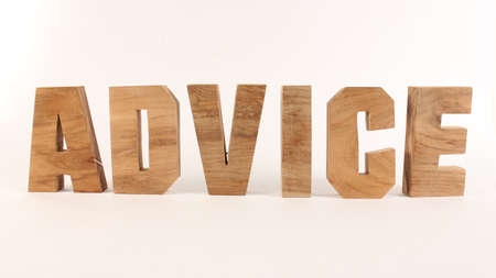Advice,  text from wood letters Holz Buchstaben white Background straight