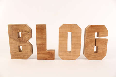 lettre: Blog,  text from wood letters Holz Buchstaben white Background straight Stock Photo