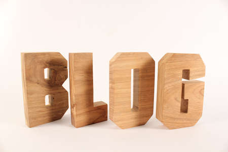naturholz: Blog text from wood letters Holz Buchstaben white Background