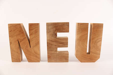 naturholz: Neu text from wood letters Holz Buchstaben white Background straight