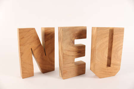 buchstaben: Neu text from wood letters Holz Buchstaben white Background