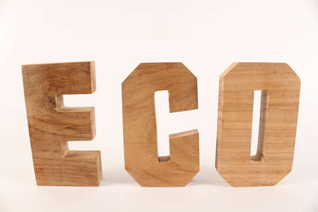naturholz: ECO text from wood letters Holz Buchstaben white Background straight Stock Photo