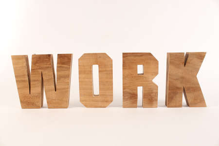 naturholz: Work text from wood letters Holz Buchstaben white Background straight