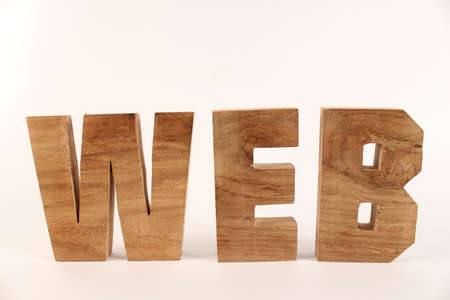 lettre: Web text from wood letters Holz Buchstaben white Background straight