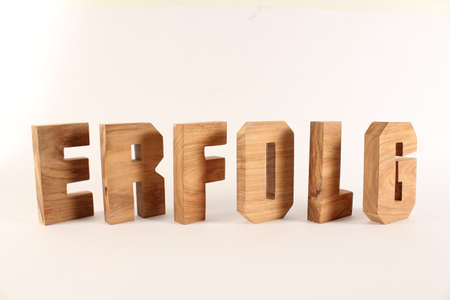 buchstabe: Erfolg text from wood letters Holz Buchstaben white Background