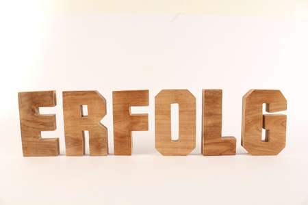 naturholz: Erfolg text from wood letters Holz Buchstaben white Background straight