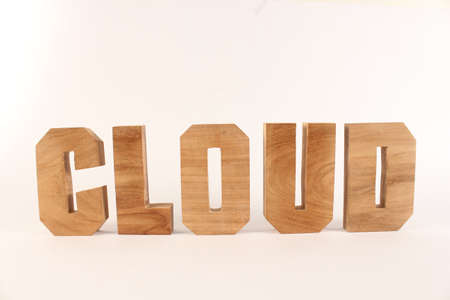 Cloud text from wood letters Holz Buchstaben white Background straight Stock Photo