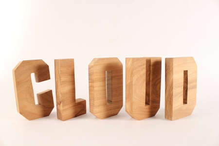naturholz: Cloud text from wood letters Holz Buchstaben white Background Stock Photo