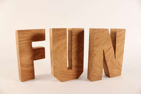 naturholz: Fun text from wood letters Holz Buchstaben white Background