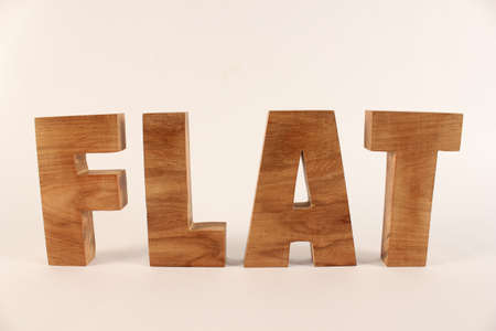 lettre: Flat text from wood letters Holz Buchstaben white Background straight Stock Photo