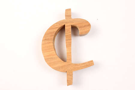 buchstabe: Cent text from wood letters Holz Buchstaben white Background Stock Photo