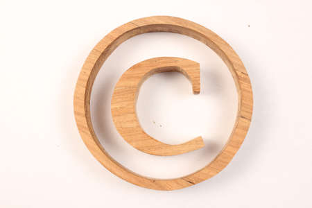 lettre: Copyright text from wood letters Holz Buchstaben white Background