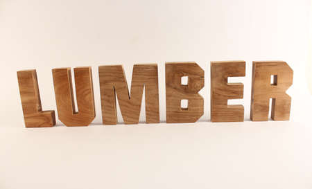 buchstaben: Lumber text from wood letters Holz Buchstaben white Background straight Stock Photo