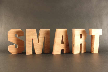SMART text from wood letters Holz Buchstaben black Background