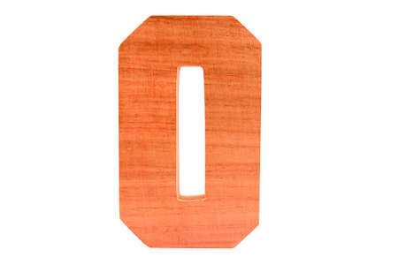 Wooden number 0 isolated straight