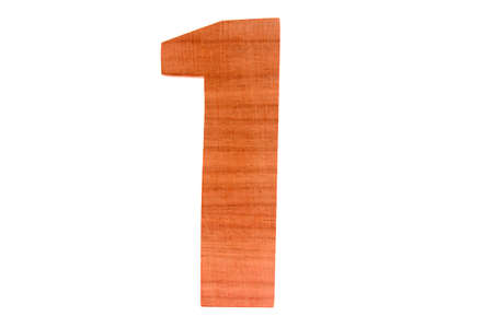 Wooden number 1 isolated straight Stock Photo