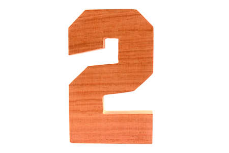Wooden number 2 isolated straight