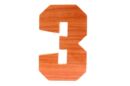 Wooden number 3 isolated straight Stock Photo