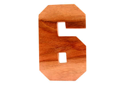 Wooden number 6 isolated straight