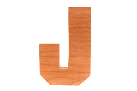 Wooden letter J isolated Stock Photo