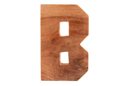 Wooden letter B isolated Stock Photo