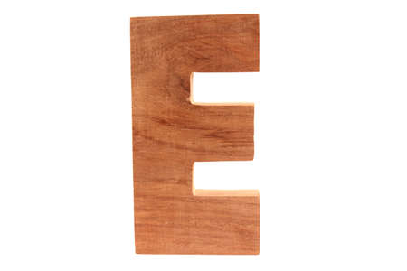 Wooden letter E isolated photo