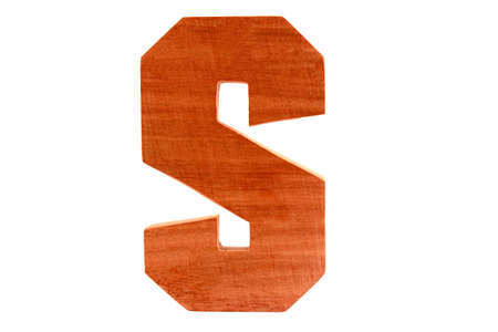 Wooden letter S isolated Stock Photo