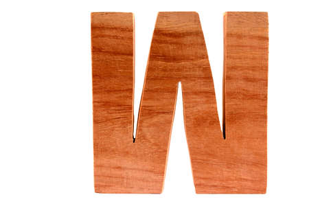 Wooden letter W isolated