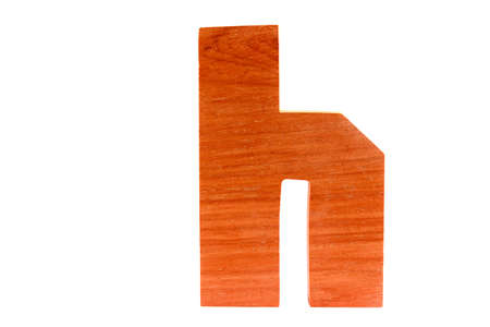 Wooden letter h isolated Stock Photo