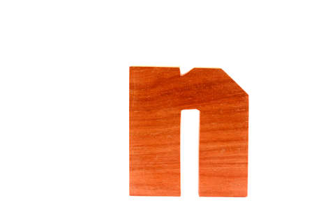Wooden letter n isolated Stock Photo