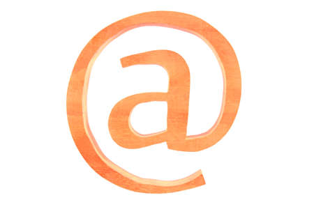 Wooden letter at email isolated