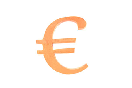 Wooden letter Euro symbol isolated Stock Photo