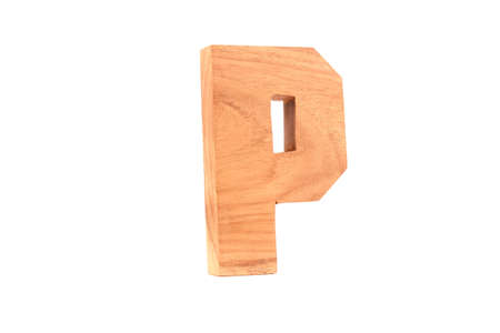 Wooden letter P isolated