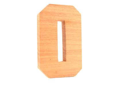 Wooden number 0 isolated