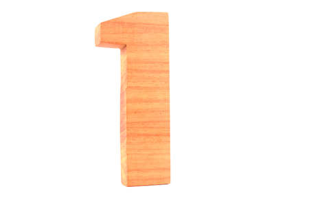 Wooden number 1 isolated Stock Photo