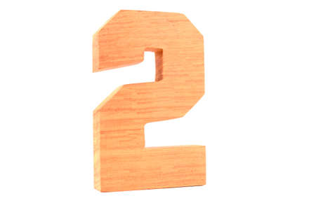 Wooden number 2 isolated