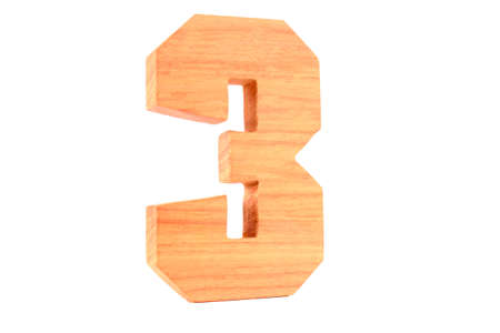Wooden number 3 isolated