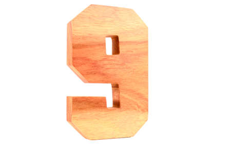 Wooden number 9 isolated