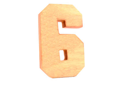 Wooden number 6 isolated