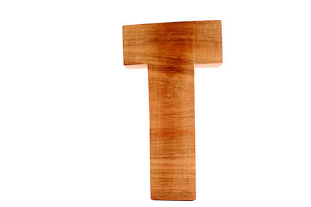 Wooden letter T isolated photo