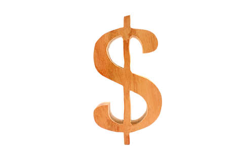 Wooden letter Dollar symbol isolated