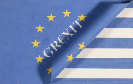 insolvency: Flag Grexit Greece Europe Stock Photo